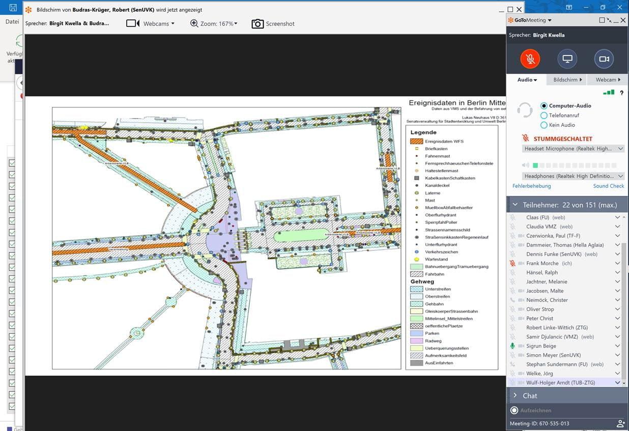 Erläuterung der digitalen Karte des Landes Berlin in einem digitalen Meeting